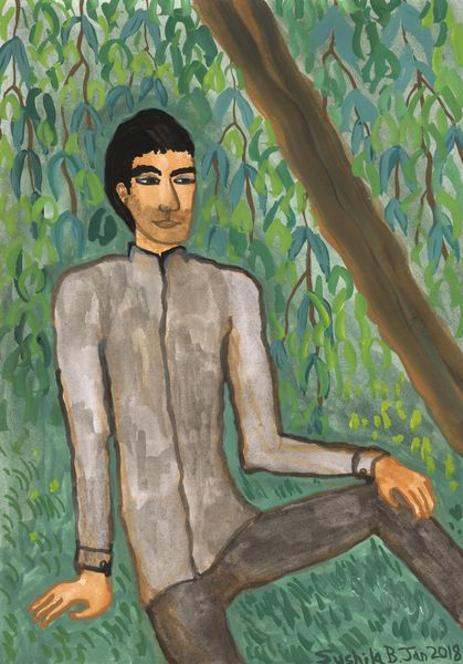 Man sitting under weeping willow. A painting by Sushila Burgess.