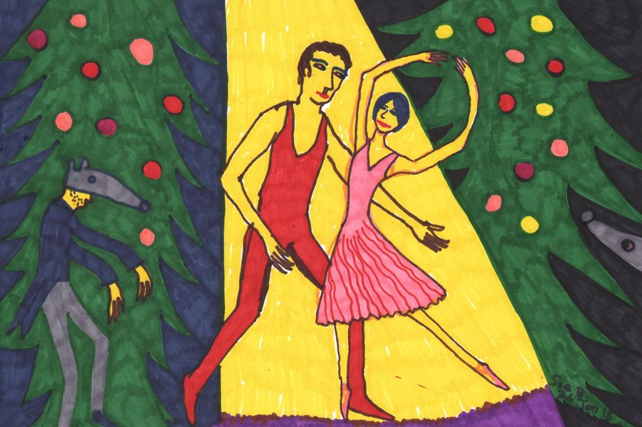 Quick sketch for Nutcracker Act 1 impressions. A painting by Sushila Burgess.