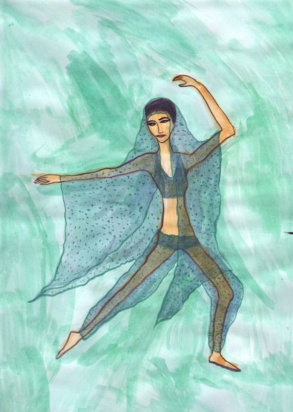 Unfinished version of Nutcracker Act 2 impressions. A painting by Sushila Burgess.