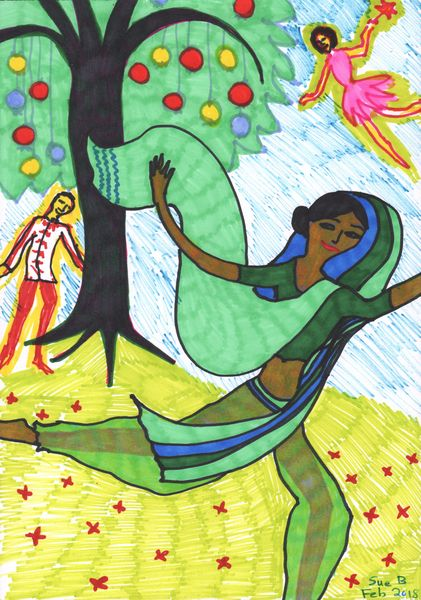 Quick sketch for Nutcracker Act 2 impressions. A painting by Sushila Burgess.