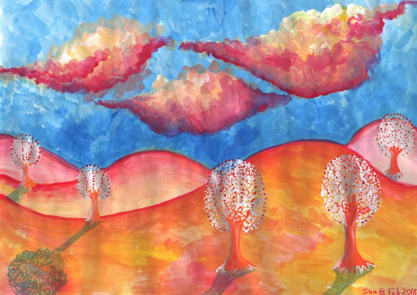 Pink Hills Dream. A painting by Sushila Burgess.