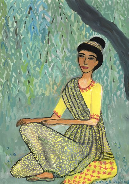 Woman in grey and yellow sari under weeping willow. A painting by Sushila Burgess.