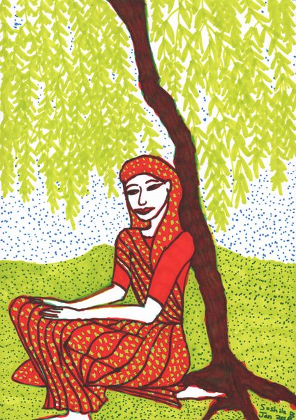 Woman under Willow in progress 1. A painting by Sushila Burgess.