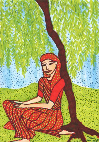 Woman under Willow in progress 2. A painting by Sushila Burgess.