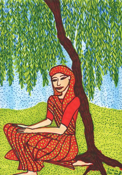 Woman in red sari under weeping willow. A painting by Sushila Burgess.