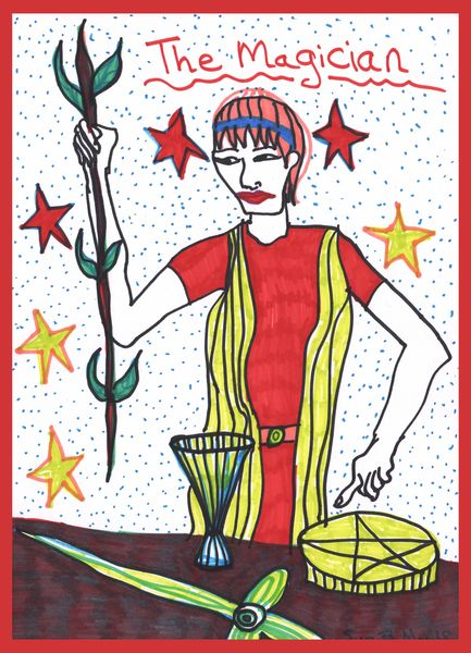 Tarot of the Younger Self: the Magician.  		A drawing by Sushila Burgess.