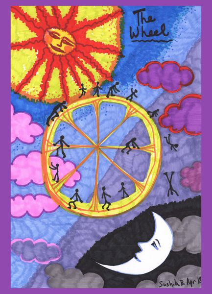 Tarot of the Younger Self: the Wheel.  		A drawing by Sushila Burgess.