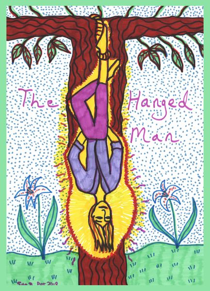 Tarot of the Younger Self: the Hanged Man.  		A drawing by Sushila Burgess.