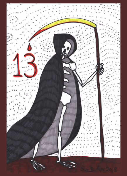Tarot of the Younger Self: Death.  		A drawing by Sushila Burgess.