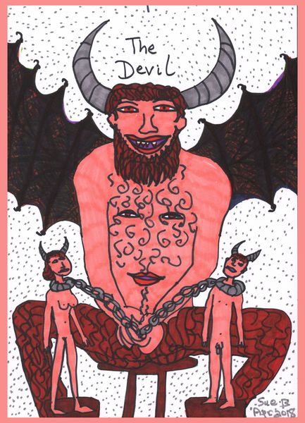 Tarot of the Younger Self: The Devil.  		A drawing by Sushila Burgess.