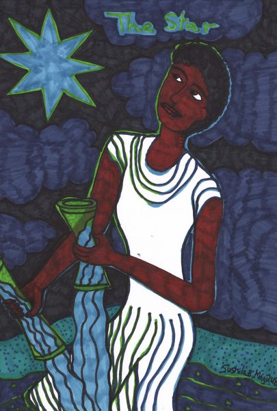 Tarot of the Younger Self: The Star.  		A drawing by Sushila Burgess.