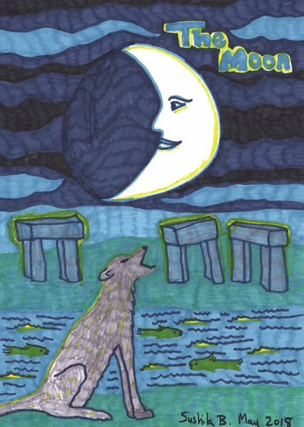 Tarot of the Younger Self: The Moon.  		A drawing by Sushila Burgess.