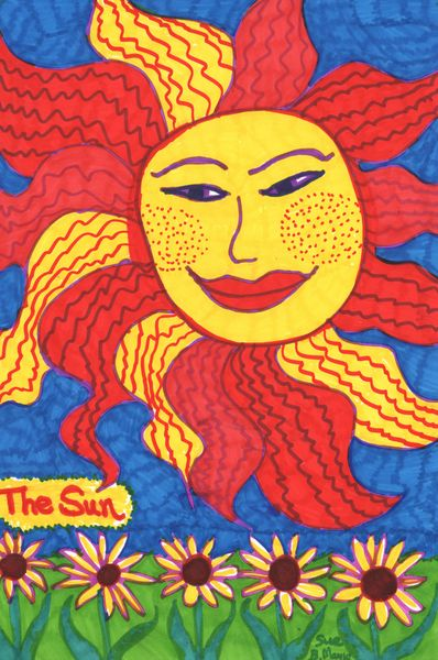 Tarot of the Younger Self: The Sun.  		A drawing by Sushila Burgess.