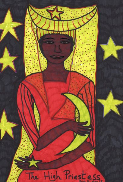 Tarot of the Younger Self: the High Priestess.  		A drawing by Sushila Burgess.