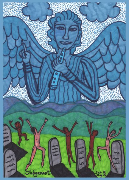 Tarot of the Younger Self: Judgement.  		A drawing by Sushila Burgess.
