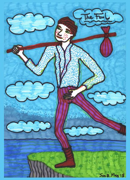 Tarot of the Younger Self: The Fool.  		A drawing by Sushila Burgess.