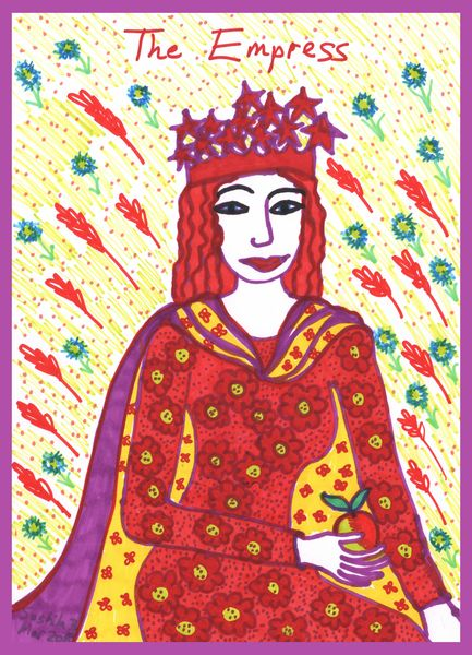 Tarot of the Younger Self: the Empress.  		A drawing by Sushila Burgess.