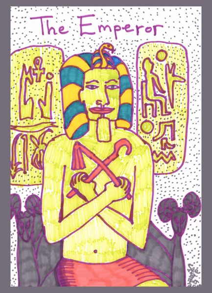 Tarot of the Younger Self: the Emperor.  		A drawing by Sushila Burgess.