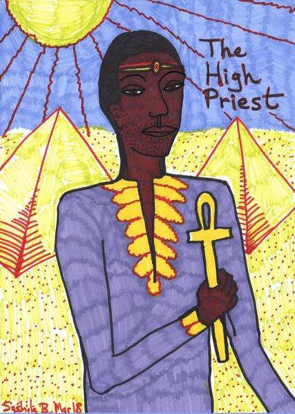 Tarot of the Younger Self: the High Priest.  		A drawing by Sushila Burgess.