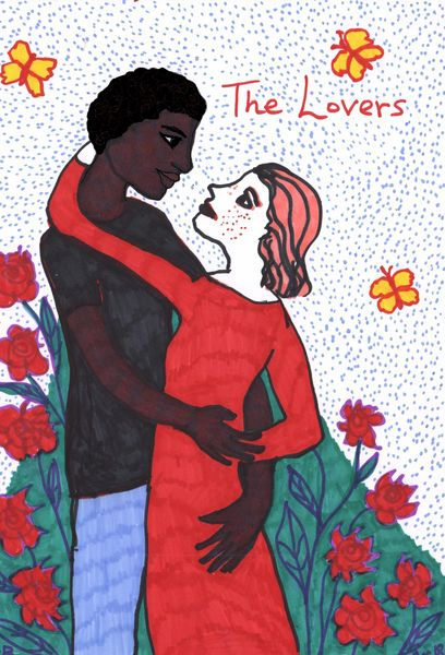 Tarot of the Younger Self: the Lovers.  		A drawing by Sushila Burgess.