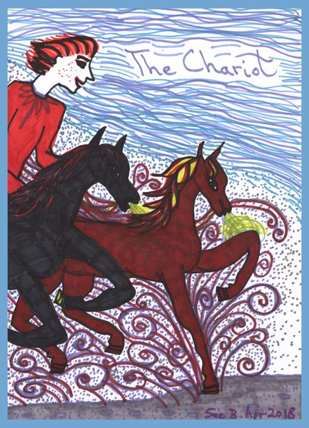 Tarot of the Younger Self: the Chariot.  		A drawing by Sushila Burgess.