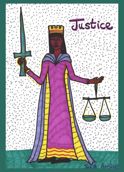 Tarot of the Younger Self: Justice.  		A drawing by Sushila Burgess.