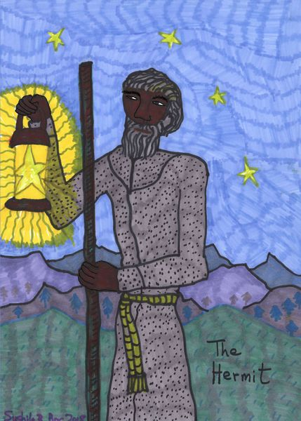 Tarot of the Younger Self: the Hermit.  		A drawing by Sushila Burgess.