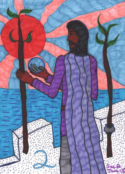 Tarot of the Younger Self: Two of Wands.  		A drawing by Sushila Burgess.