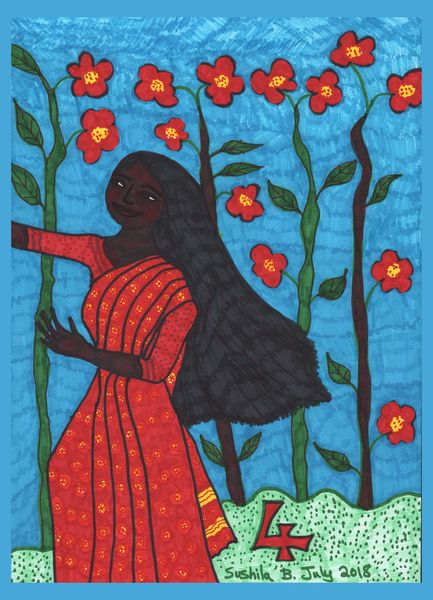 Tarot of the Younger Self: Four of Wands.  		A drawing by Sushila Burgess.