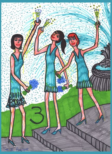 Tarot of the Younger Self: Three of Cups.  		A drawing by Sushila Burgess.