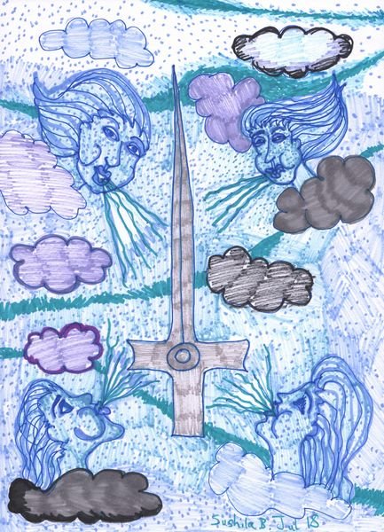 Tarot of the Younger Self: Ace of Swords.  		A drawing by Sushila Burgess.