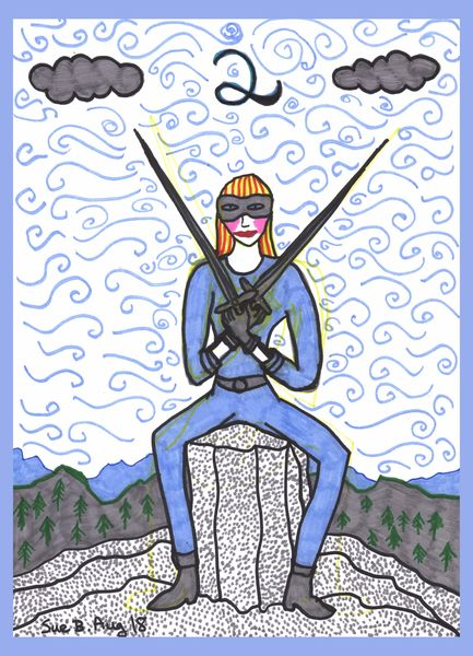 Tarot of the Younger Self: Two of Swords.  		A drawing by Sushila Burgess.