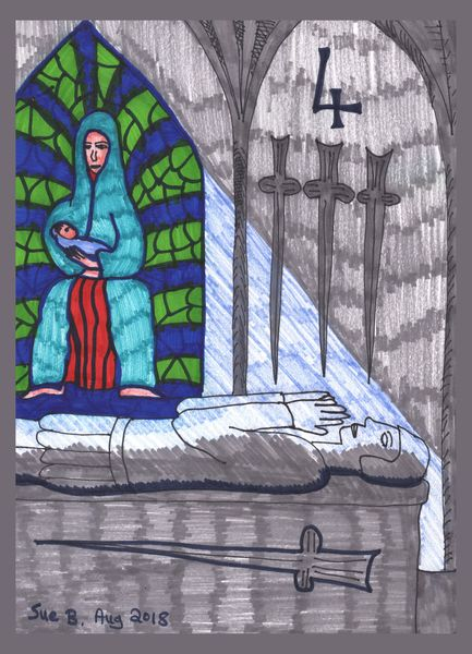 Tarot of the Younger Self: Four of Swords.  		A drawing by Sushila Burgess.