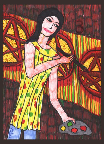 Tarot of the Younger Self: Three of Pentacles.  		A drawing by Sushila Burgess.