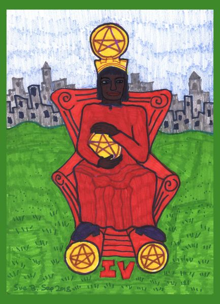 Tarot of the Younger Self: Four of Pentacles.  		A drawing by Sushila Burgess.