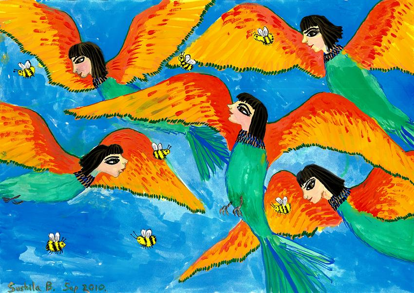 Bird people: Little green bee-eaters of Upper Egypt. A painting by Sushila Burgess.