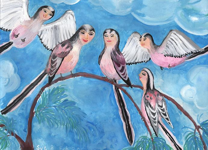 Bird people: Long-Tailed Tits. A painting by Sushila Burgess.
