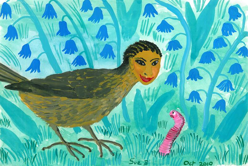 Bird people: blackbird and worm. A painting by Sushila Burgess.