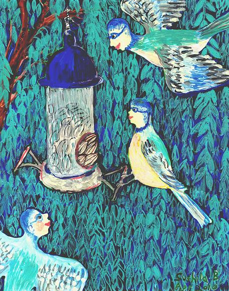 Bird people: the bluetit family. A painting by Sushila Burgess.
