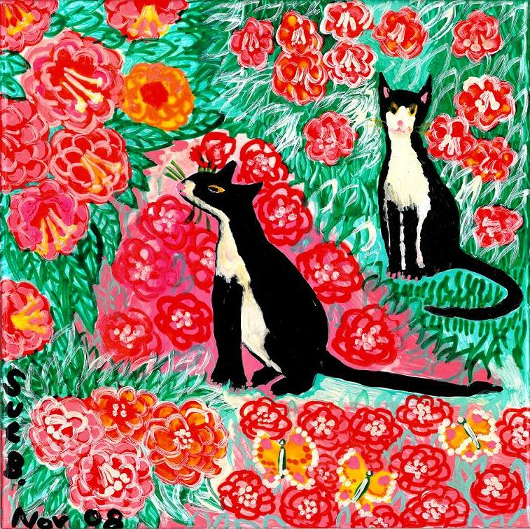 Painted tile with cats and roses