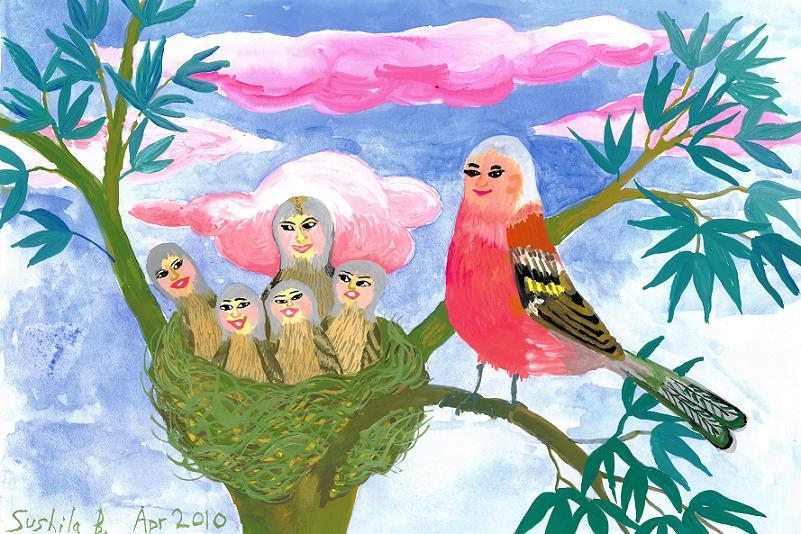 Bird people: chaffinch family. A painting by Sushila Burgess.