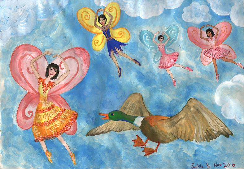 Fairies and Mermaids paintings by Sushila Burgess.