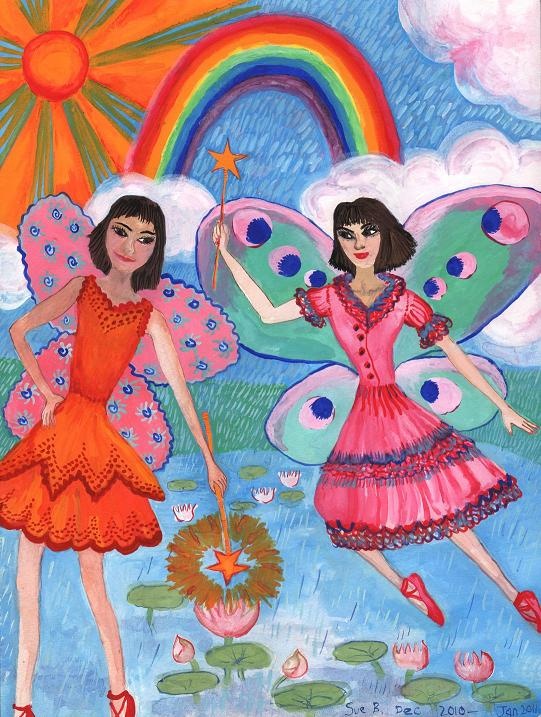 Lily Pond Fairies paintings by Sushila Burgess.