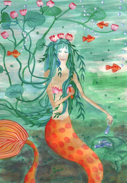 Lily Pond Mermaid with Goldfish Snack painting by Sushila Burgess.