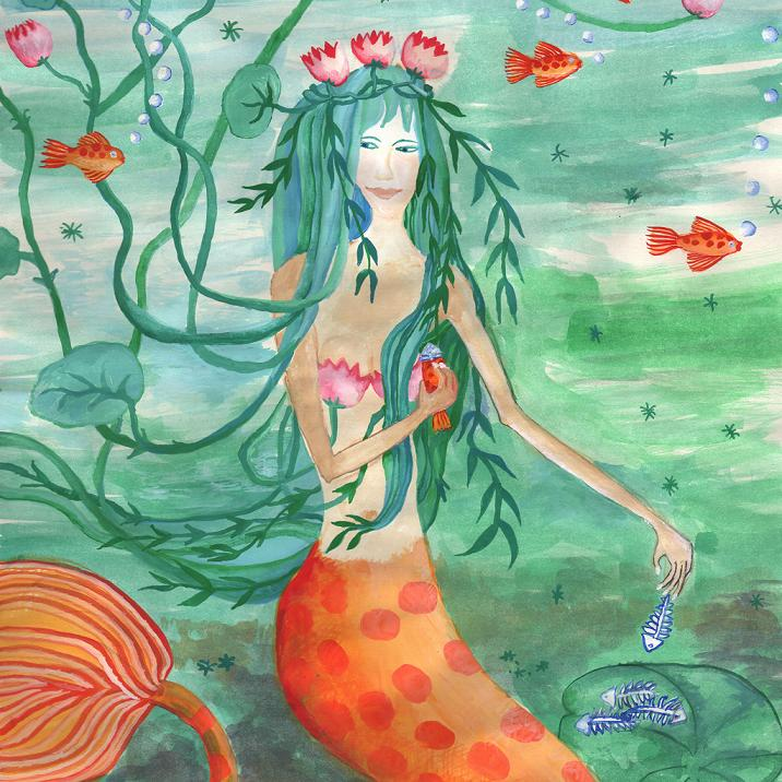 Closeup of Lily Pond Mermaid with Goldfish Snack painting by Sushila Burgess.