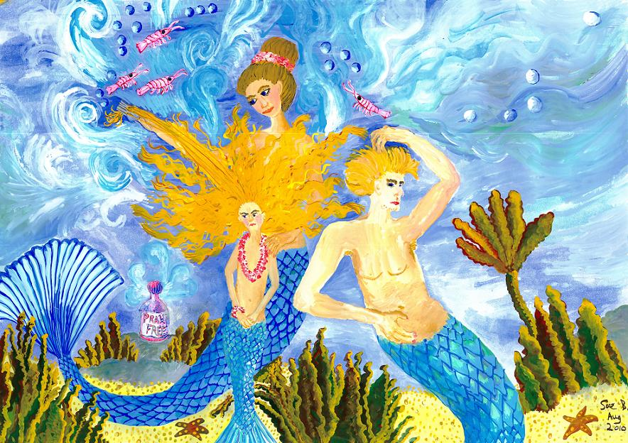 Mer Mum and Comb painting by Sushila Burgess.