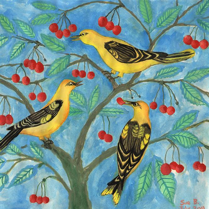 Golden Orioles in a Cherry Tree painting