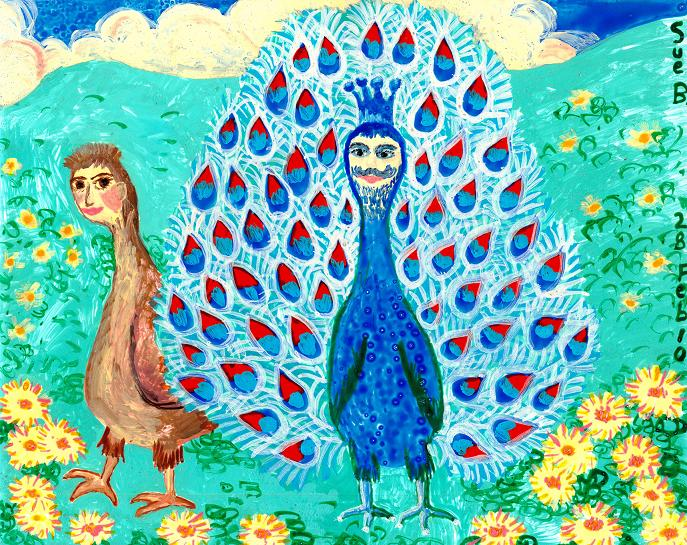 Bird people: Peacock King and Peahen. A painting by Sushila Burgess.