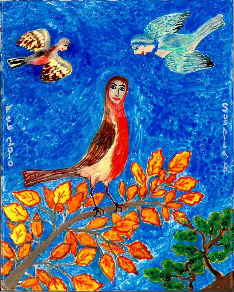 Bird People paintings by Sushila Burgess