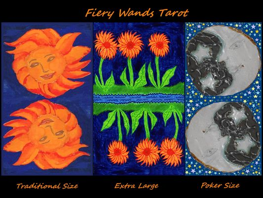 Fiery Wands Tarot variations. From paintings by Sushila Burgess.